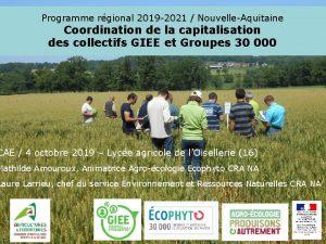 Programme rgional 2019 2021 NouvelleAquitaine Coordination de la