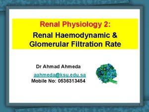 Renal Physiology 2 Renal Haemodynamic Glomerular Filtration Rate