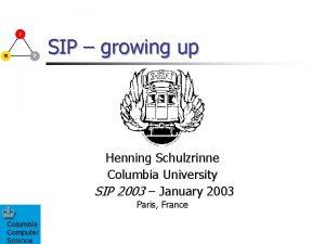 SIP growing up Henning Schulzrinne Columbia University SIP