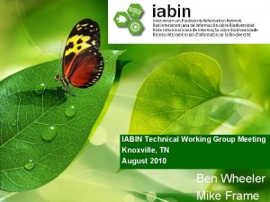 IABIN Technical Working Group Meeting Knoxville TN August