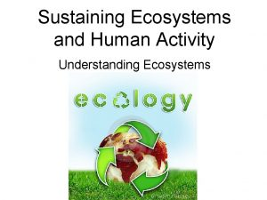 Sustaining Ecosystems and Human Activity Understanding Ecosystems Ecology