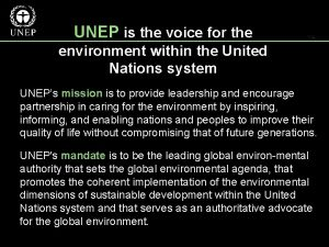 UNEP is the voice for the environment within
