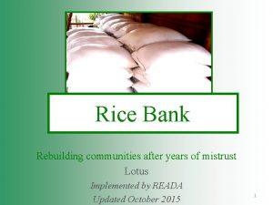 Rice Bank Rebuilding communities after years of mistrust