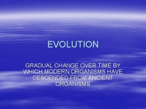EVOLUTION GRADUAL CHANGE OVER TIME BY WHICH MODERN
