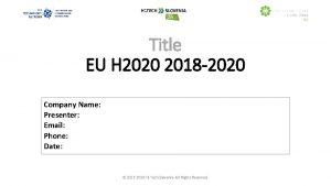 Title EU H 2020 2018 2020 Company Name