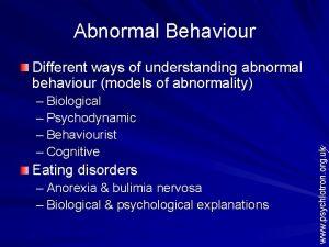 Abnormal Behaviour Biological Psychodynamic Behaviourist Cognitive Eating disorders
