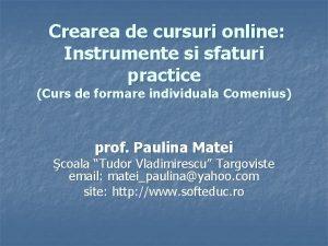 Crearea de cursuri online Instrumente si sfaturi practice