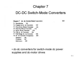 Chapter 7 DCDC SwitchMode Converters dcdc converters for