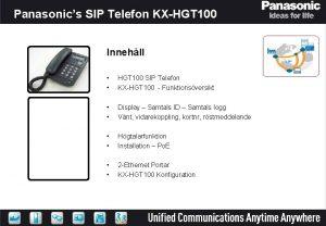 Panasonics SIP Telefon KXHGT 100 HGT 100 SIP