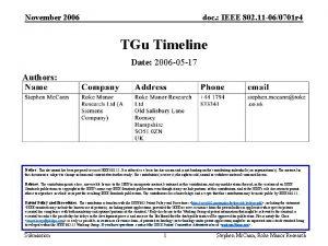 November 2006 doc IEEE 802 11 060701 r