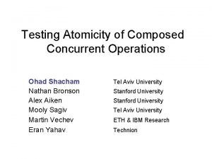 Testing Atomicity of Composed Concurrent Operations Ohad Shacham