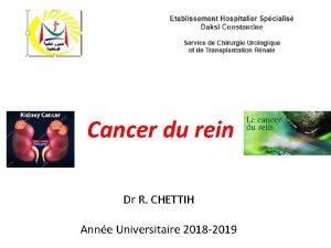 Cancer du rein Dr R CHETTIH Anne Universitaire