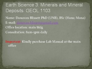 Earth Science 3 Minerals and Mineral Deposits GEOL