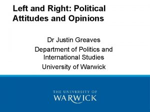 Left and Right Political Attitudes and Opinions Dr