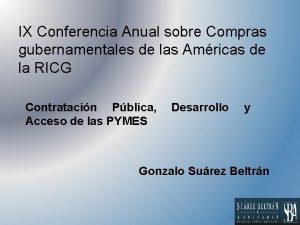 IX Conferencia Anual sobre Compras gubernamentales de las