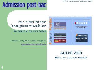 APB 2010 Acadmie de Grenoble SAIO Pour sinscrire