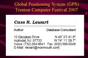 Global Positioning System GPS Trenton Computer Festival 2007