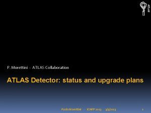 ATLAS P Morettini ATLAS Collaboration ATLAS Detector status