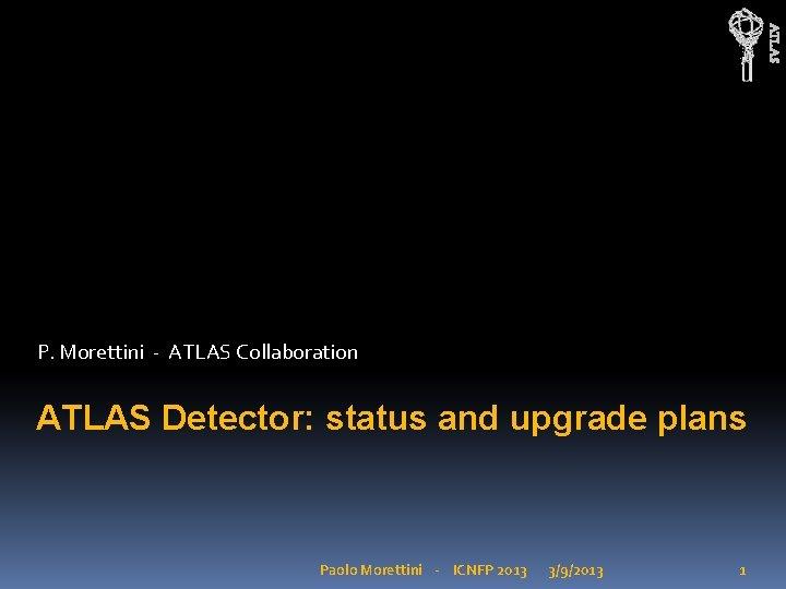 ATLAS P Morettini ATLAS Collaboration ATLAS Detector status