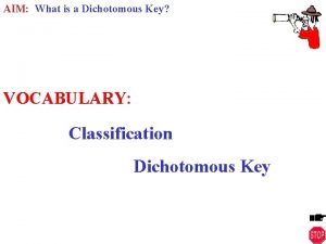 AIM What is a Dichotomous Key VOCABULARY Classification