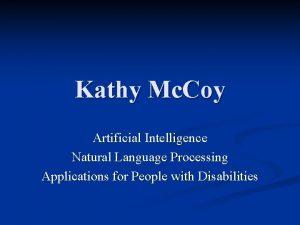 Kathy Mc Coy Artificial Intelligence Natural Language Processing