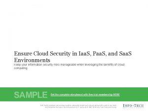 Ensure Cloud Security in Iaa S Paa S