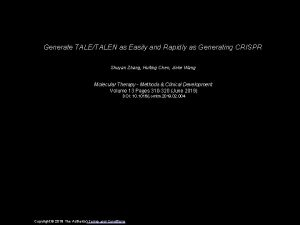 Generate TALETALEN as Easily and Rapidly as Generating