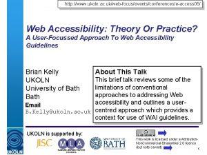 http www ukoln ac ukwebfocuseventsconferenceseaccess 06 Web Accessibility