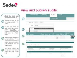 View and publish audits Steps to view your