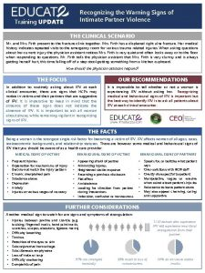 Recognizing the Warning Signs of Intimate Partner Violence