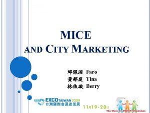 MICE AND CITY MARKETING Faro Tina Berry MOTIVATION