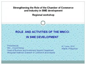 Strengthening the Role of the Chamber of Commerce