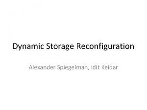 Dynamic Storage Reconfiguration Alexander Spiegelman Idit Keidar Agenda
