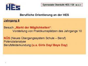 Gymnasiale Oberstufe HES G 8 08 12 11