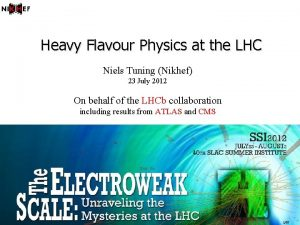 Heavy Flavour Physics at the LHC Niels Tuning