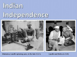 Indian Independence Mahatma Gandhi spinning yarn in the