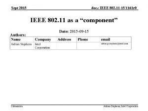 doc IEEE 802 11 151161 r 0 Sept