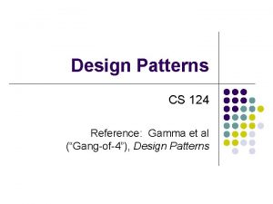 Design Patterns CS 124 Reference Gamma et al
