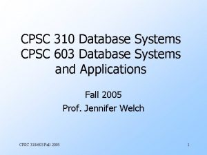 CPSC 310 Database Systems CPSC 603 Database Systems