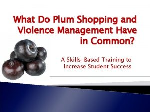 What Do Plum Shopping and Violence Management Have