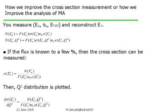 How we improve the cross section measurement or