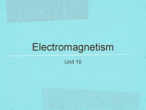 Electromagnetism Unit 10 History Originally electricity magnetism were