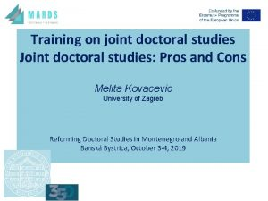 Training on joint doctoral studies Joint doctoral studies
