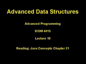 Advanced Data Structures Advanced Programming ICOM 4015 Lecture