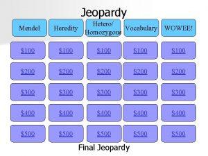 Jeopardy Mendel Hetero Heredity Vocabulary WOWEE Homozygous 100