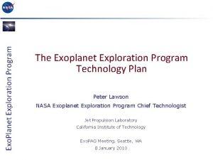 Exo Planet Exploration Program The Exoplanet Exploration Program