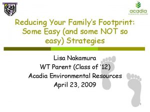 Reducing Your Familys Footprint Some Easy and some