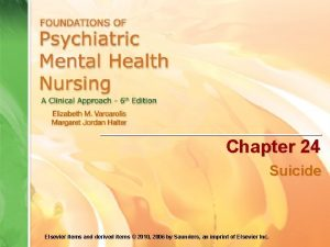 Chapter 24 Suicide Elsevier items and derived items