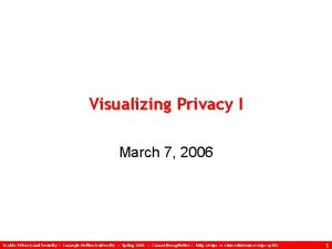 Visualizing Privacy I March 7 2006 Usable Privacy