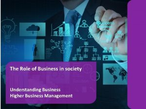 The Role of Business in society Understanding Business